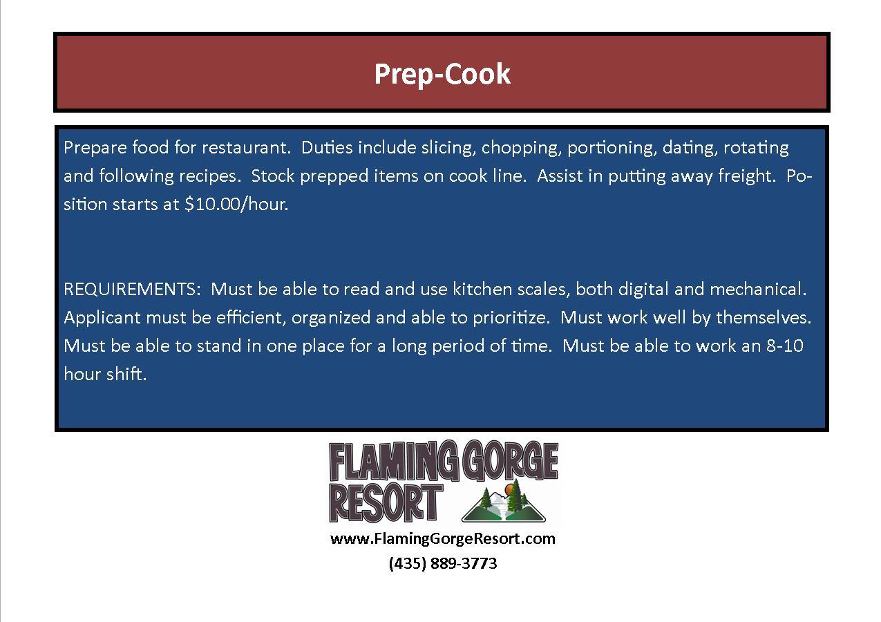 Employment Flaming Gorge Resort Dutch John Utah